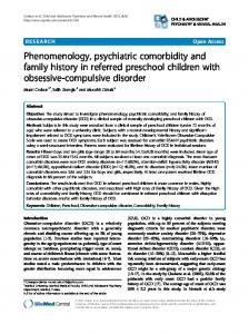 Phenomenology, psychiatric comorbidity and family ... - BioMedSearch