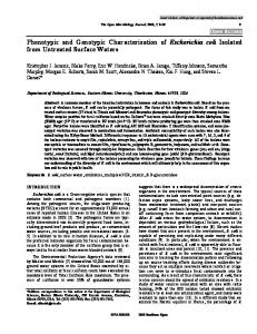 Phenotypic and Genotypic Characterization of ... - Bentham Open