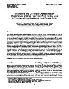 Phenotypic and Genotypic Characterization of Salmonella enterica ...