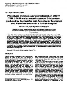 Phenotypic and molecular characterization of ... - Academic Journals