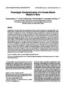 Phenotypic Characterization of a Female Sterile ... - Wiley Online Library