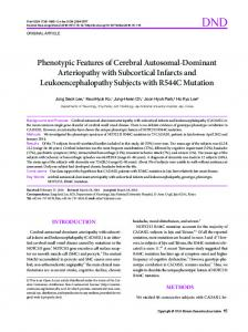 Phenotypic Features of Cerebral Autosomal ... - KoreaMed Synapse