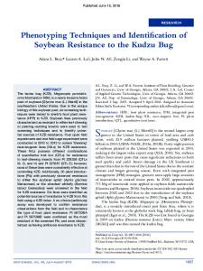 Phenotyping Techniques and Identification of Soybean Resistance to ...