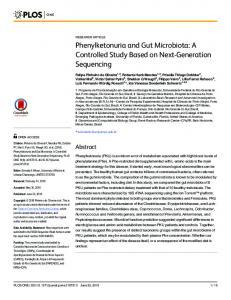 Phenylketonuria and Gut Microbiota | PLOS