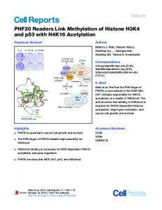 PHF20 Readers Link Methylation of Histone H3K4 and ... - Cell Press
