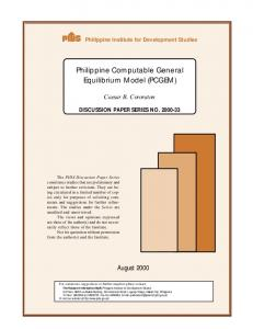 Philippine Computable General Equilibrium Model (PCGEM)