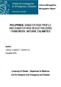 philippines: disaster risk profile and disaster risk ...