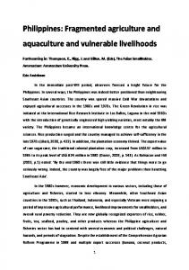 Philippines: Fragmented agriculture and aquaculture
