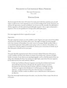 Philosophy 22: Contemporary Moral Problems Writing Guide