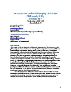 Philosophy 258/Science 267: Introduction to the Philosophy of ...