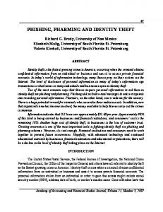 PHISHING, PHARMING AND IDENTITY THEFT