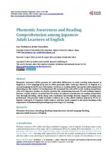 Phonemic Awareness and Reading Comprehension among Japanese ...
