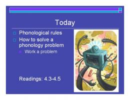 Phonological rules How to solve a phonology problem Readings ...