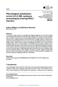 Phonological substitution errors in L2 ASL sentence processing by ...