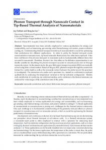 Phonon Transport through Nanoscale Contact in Tip-Based ... - MDPI