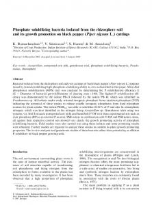 Phosphate solubilizing bacteria isolated from the rhizosphere soil and ...