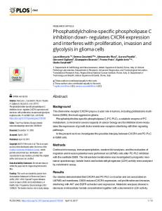 Phosphatidylcholine-specific phospholipase C inhibition down - PLOS