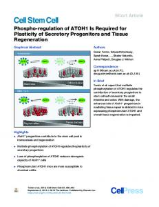 Phospho-regulation of ATOH1 Is Required for