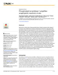 Phospholipid scramblase 1 amplifies anaphylactic reactions in ... - PLOS