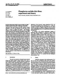 Phosphorus carbide thin films: experiment and ... - School of Chemistry