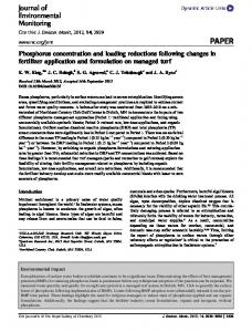 Phosphorus concentration and loading reductions ... - Semantic Scholar