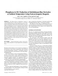 Phosphorus in Oil. Production of Molybdenum Blue Derivative at ...