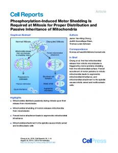 Phosphorylation-Induced Motor Shedding Is Required at ... - Cell Press