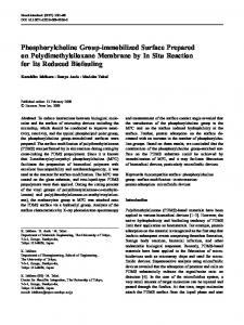 Phosphorylcholine Group-immobilized Surface ... - Springer Link