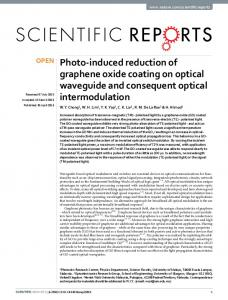 Photo-induced reduction of graphene oxide coating on optical ...
