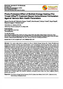 Photo-Protective Effect of Biofield Energy Healing (The Trivedi Effect ...