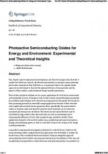 Photoactive Semiconducting Oxides for Energy and ...