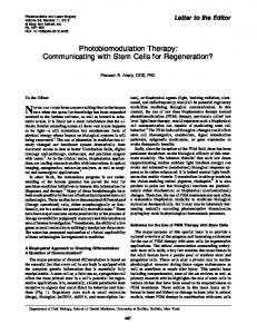 Photobiomodulation Therapy: Communicating with Stem Cells for ...