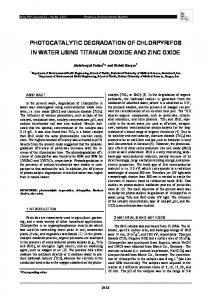 photocatalytic degradation of chlorpyrifos in water using titanium ...
