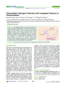 Photocatalytic Hydrogen Production with ... - ACS Publications