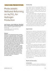 Photocatalytic methanol reforming on Au/TiO 2 for hydrogen production