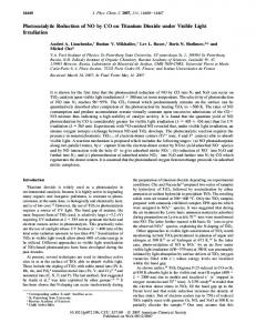 Photocatalytic Reduction of NO by CO on Titanium Dioxide under ...