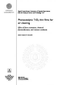 Photocatalytic TiO2 thin films for air cleaning - DiVA portal
