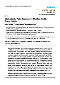 Photocatalytic Water Treatment by Titanium Dioxide: Recent ... - MDPI