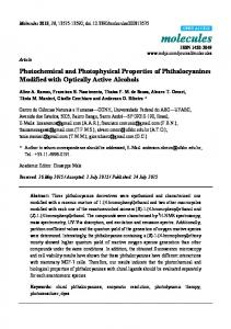 Photochemical and Photophysical Properties of