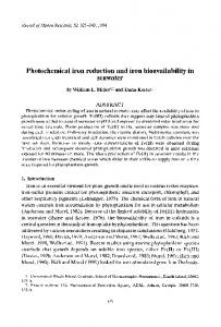 Photochemical iron reduction and iron bioavailability in seawater