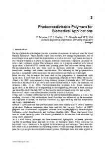 Photocrosslinkable Polymers for Biomedical Applications - InTechOpen