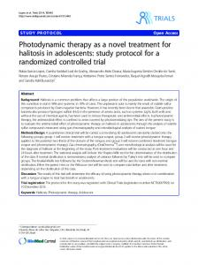 Photodynamic therapy as a novel treatment for