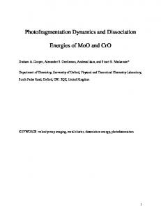 Photofragmentation dynamics and dissociation energies of MoO and ...