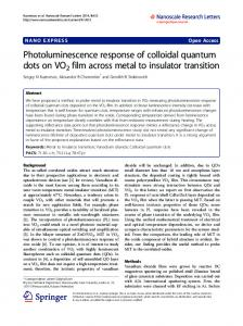 Photoluminescence response of colloidal quantum ... - Springer Link
