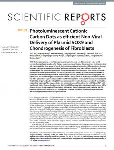 Photoluminescent Cationic Carbon Dots as efficient ...
