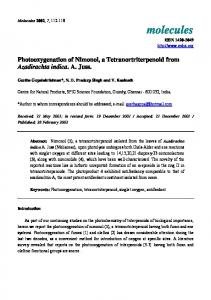 Photooxygenation of Nimonol, a Tetranortriterpenoid from Azadirachta ...