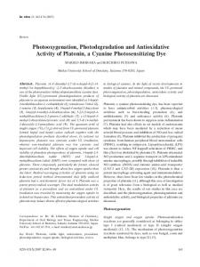 Photooxygenation, Photodegradation and ... - Semantic Scholar