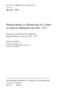 Photosynthesis and Respiration in Conifers A Classified Reference ...