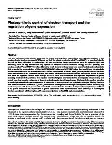 Photosynthetic control of electron transport and the