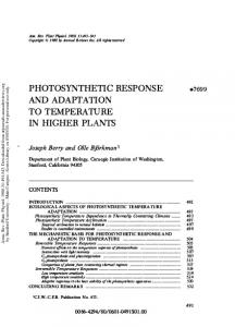 Photosynthetic Response and Adaptation to